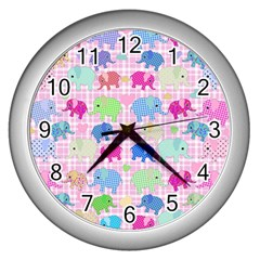 Cute elephants  Wall Clocks (Silver)