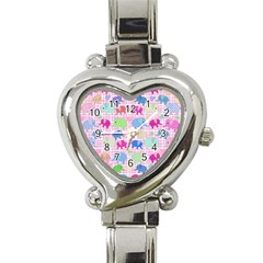 Cute elephants  Heart Italian Charm Watch