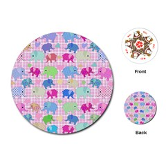 Cute elephants  Playing Cards (Round)