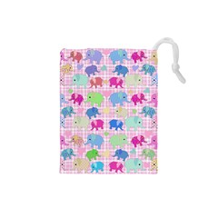 Cute elephants  Drawstring Pouches (Small)