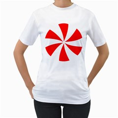 Candy Red White Peppermint Pinwheel Red White Women s T-Shirt (White) (Two Sided)