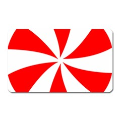 Candy Red White Peppermint Pinwheel Red White Magnet (rectangular)