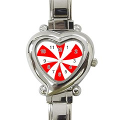Candy Red White Peppermint Pinwheel Red White Heart Italian Charm Watch