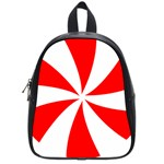 Candy Red White Peppermint Pinwheel Red White School Bags (Small)  Front