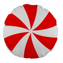 Candy Red White Peppermint Pinwheel Red White Large 18  Premium Flano Round Cushions