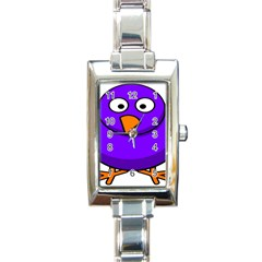 Cartoon Bird Purple Rectangle Italian Charm Watch