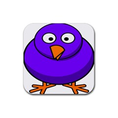 Cartoon Bird Purple Rubber Square Coaster (4 Pack)