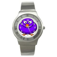 Cartoon Bird Purple Stainless Steel Watch