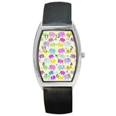 Cute elephants  Barrel Style Metal Watch