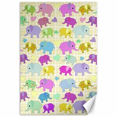Cute elephants  Canvas 12  x 18