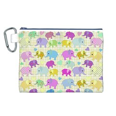 Cute elephants  Canvas Cosmetic Bag (L)