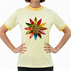 Chromatic Flower Gold Rainbow Women s Fitted Ringer T Shirts