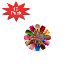 Chromatic Flower Gold Rainbow 1  Mini Buttons (10 pack)