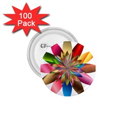 Chromatic Flower Gold Rainbow 1 75  Buttons (100 Pack)