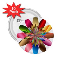 Chromatic Flower Gold Rainbow 2 25  Buttons (10 Pack)
