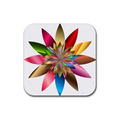 Chromatic Flower Gold Rainbow Rubber Square Coaster (4 Pack)