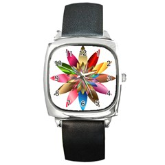 Chromatic Flower Gold Rainbow Square Metal Watch