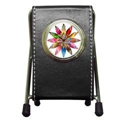 Chromatic Flower Gold Rainbow Pen Holder Desk Clocks