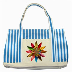Chromatic Flower Gold Rainbow Striped Blue Tote Bag