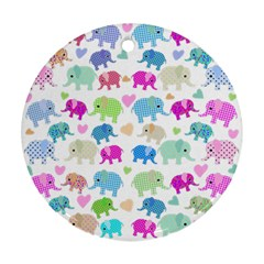Cute elephants  Ornament (Round)