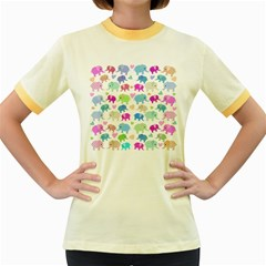 Cute elephants  Women s Fitted Ringer T-Shirts
