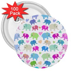 Cute elephants  3  Buttons (100 pack)