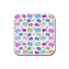 Cute elephants  Rubber Square Coaster (4 pack)