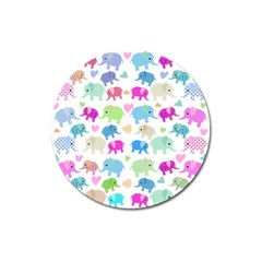 Cute elephants  Magnet 3  (Round)