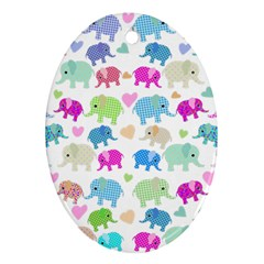 Cute elephants  Oval Ornament (Two Sides)