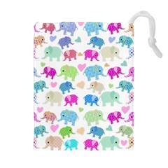 Cute elephants  Drawstring Pouches (Extra Large)