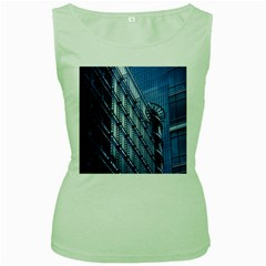 Building Architectural Background Women s Green Tank Top
