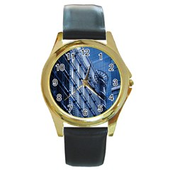 Building Architectural Background Round Gold Metal Watch