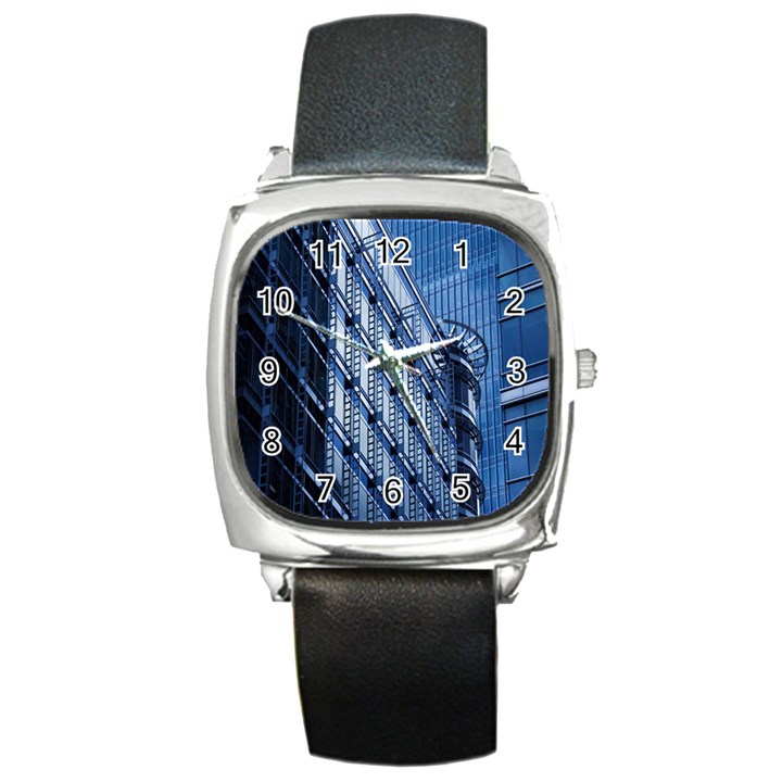 Building Architectural Background Square Metal Watch