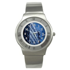 Building Architectural Background Stainless Steel Watch