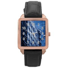 Building Architectural Background Rose Gold Leather Watch