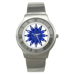 Chromatic Flower Blue Star Stainless Steel Watch