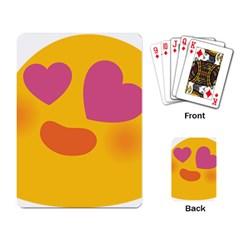 Emoji Face Emotion Love Heart Pink Orange Emoji Playing Card