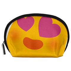 Emoji Face Emotion Love Heart Pink Orange Emoji Accessory Pouches (large)