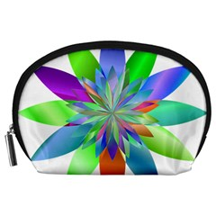 Chromatic Flower Variation Star Rainbow Accessory Pouches (large)