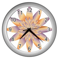 Chromatic Flower Gold Star Floral Wall Clocks (silver)
