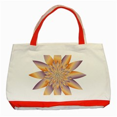 Chromatic Flower Gold Star Floral Classic Tote Bag (red)