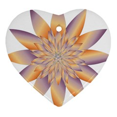 Chromatic Flower Gold Star Floral Heart Ornament (two Sides)