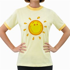Domain Cartoon Smiling Sun Sunlight Orange Emoji Women s Fitted Ringer T Shirts