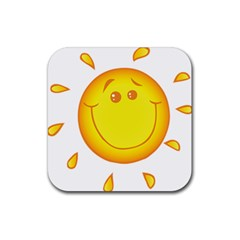 Domain Cartoon Smiling Sun Sunlight Orange Emoji Rubber Coaster (square)