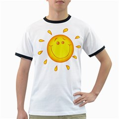 Domain Cartoon Smiling Sun Sunlight Orange Emoji Ringer T Shirts