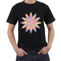 Chromatic Flower Gold Rainbow Star Men s T-Shirt (Black) (Two Sided)