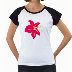 Flower Floral Lily Blossom Red Yellow Women s Cap Sleeve T