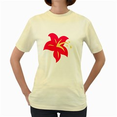 Flower Floral Lily Blossom Red Yellow Women s Yellow T Shirt