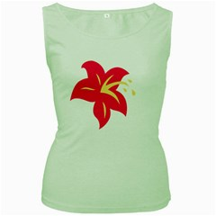 Flower Floral Lily Blossom Red Yellow Women s Green Tank Top
