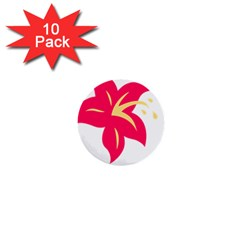 Flower Floral Lily Blossom Red Yellow 1  Mini Buttons (10 Pack)